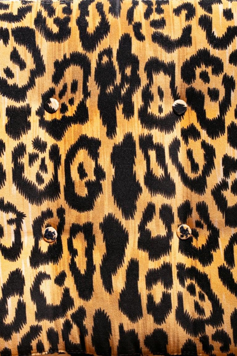Pair of Milo Baughman Style Midcentury Parsons Chairs in Leopard Velvet 2