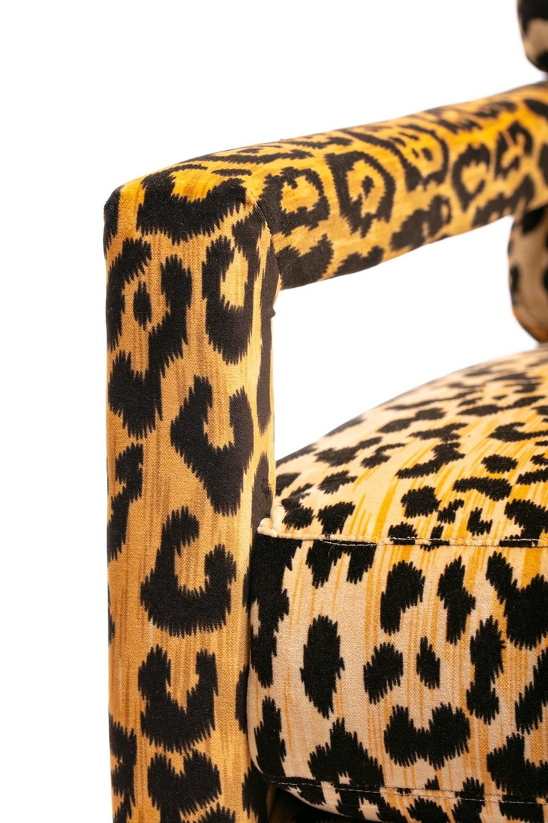Pair of Milo Baughman Style Midcentury Parsons Chairs in Leopard Velvet 3