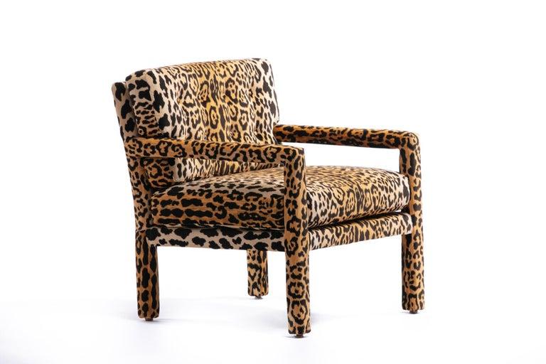Pair of Milo Baughman Style Midcentury Parsons Chairs in Leopard Velvet 7