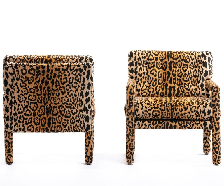 Pair of Milo Baughman Style Midcentury Parsons Chairs in Leopard Velvet 5
