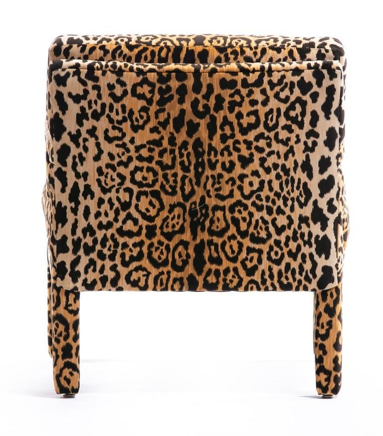 Late 20th Century Pair of Milo Baughman Style Midcentury Parsons Chairs in Leopard Velvet