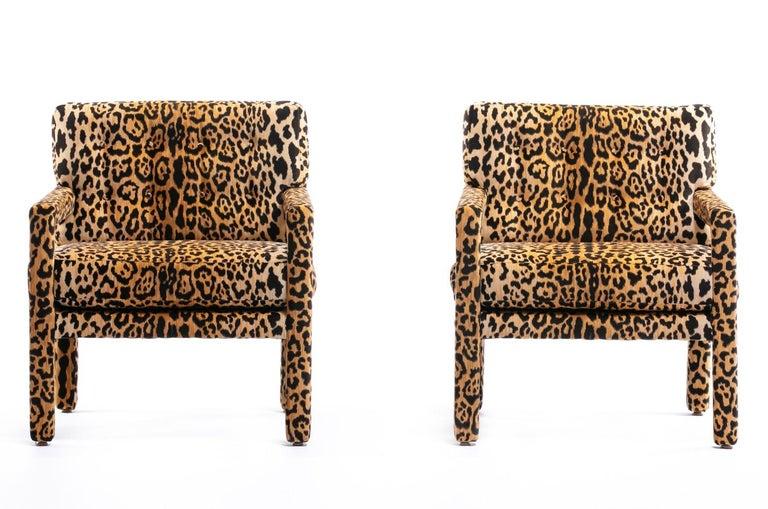 Pair of Milo Baughman Style Midcentury Parsons Chairs in Leopard Velvet 4