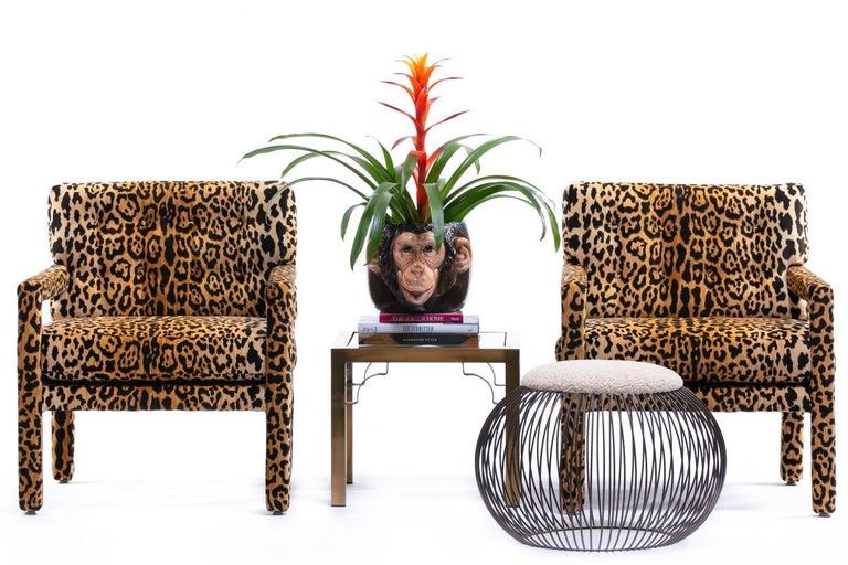Mid-Century Modern Pair of Milo Baughman Style Midcentury Parsons Chairs in Leopard Velvet