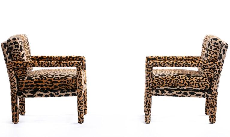 American Pair of Milo Baughman Style Midcentury Parsons Chairs in Leopard Velvet