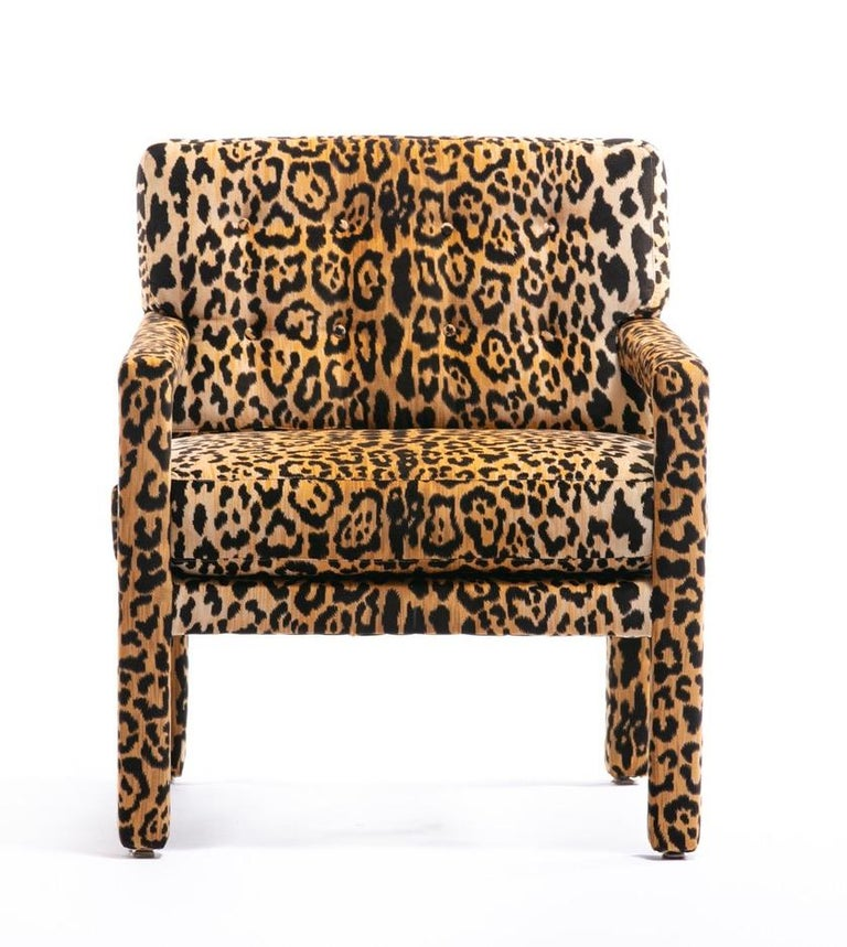 Pair of Milo Baughman Style Midcentury Parsons Chairs in Leopard Velvet In Good Condition In Saint Louis, MO