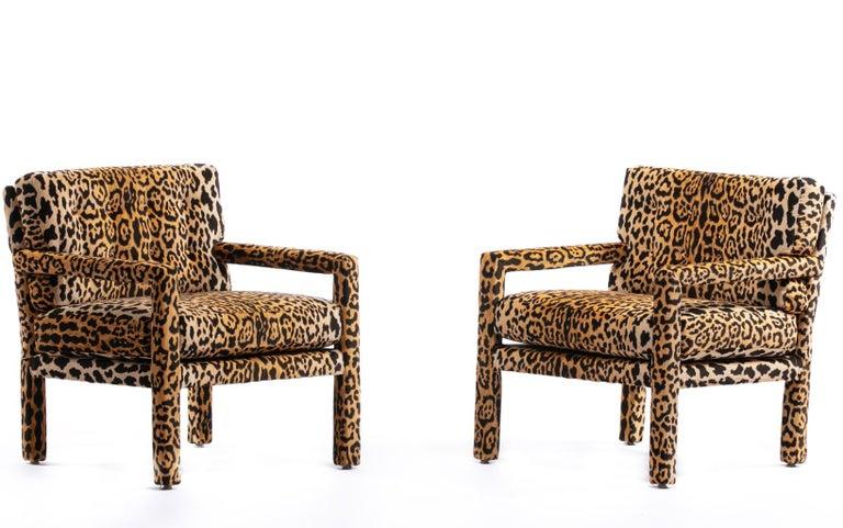 Pair of Milo Baughman Style Midcentury Parsons Chairs in Leopard Velvet