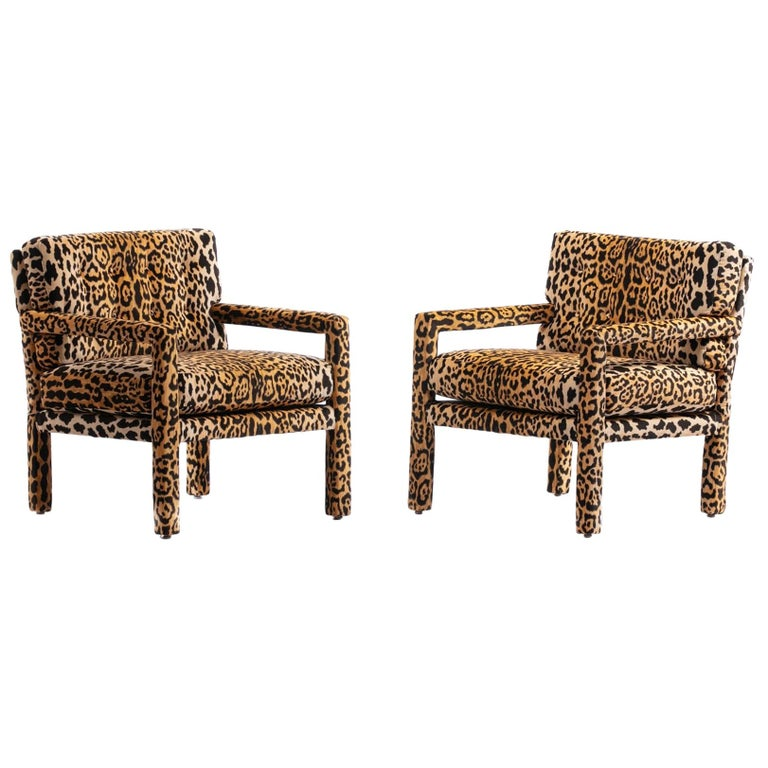 Picture perfect aren't they? And wait until they envelop you in leopard velvet. Timeless Milo Baughman style Parsons design freshly reupholstered with forever sexy and stylish leopard velvet. Parsons chairs are unique in that every surface is