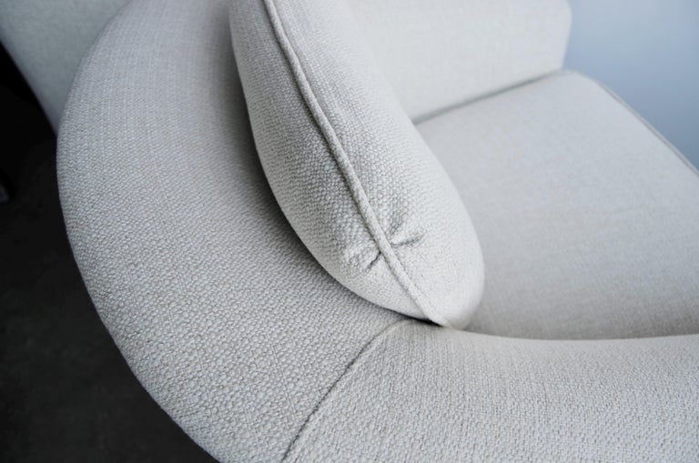 Pair of Milo Baughman Style New White Upholstery Swivel Chairs with Back Cushion For Sale 7