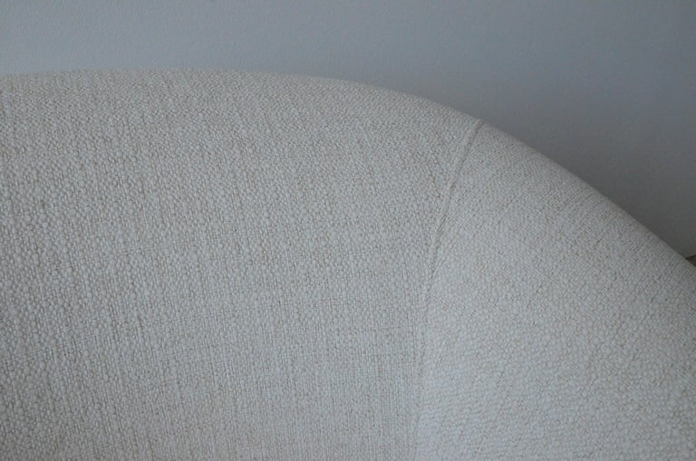 Pair of Milo Baughman Style New White Upholstery Swivel Chairs with Back Cushion For Sale 6