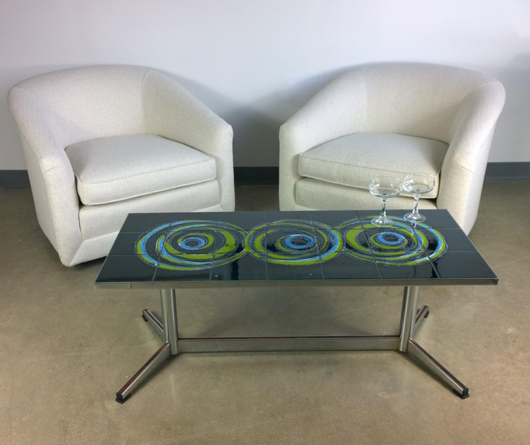 Pair of Milo Baughman Style New White Upholstery Swivel Chairs with Back Cushion For Sale 13