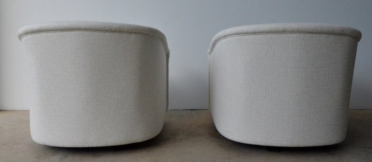 Fabric Pair of Milo Baughman Style New White Upholstery Swivel Chairs with Back Cushion For Sale