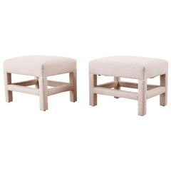 Pair of Milo Baughman Style Parsons Ottoman Benches