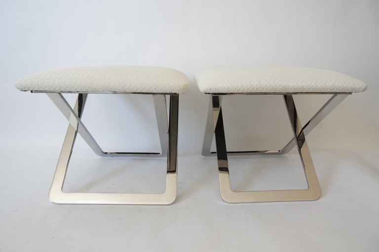 American Pair of Milo Baughman Style Polished Steel Stools For Sale