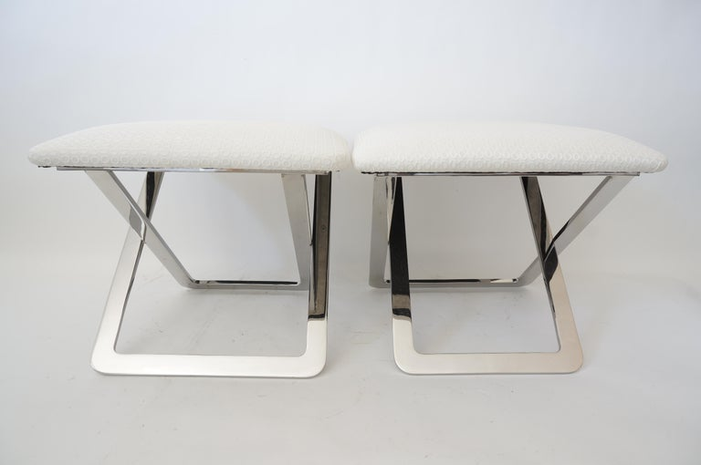 20th Century Pair of Milo Baughman Style Polished Steel Stools For Sale