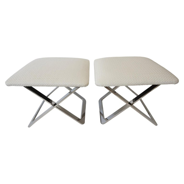 Pair of Milo Baughman Style Polished Steel Stools For Sale