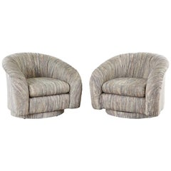 Pair of Milo Baughman Style Swivel Lounge or Club Chairs