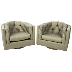 Pair of Milo Baughman Style Tufted Barrel Back Swivel Chairs