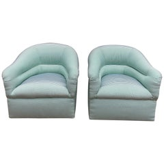 Pair of Milo Baughman Swivel Barrel Chairs