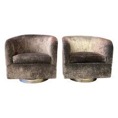 Pair of Milo Baughman Swivel Lounge Chairs