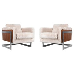 Pair of Milo Baughman T-Back Cube Lounge Chairs Reupholstered in Shearling