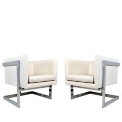 Pair of Milo Baughman T-Back Lounge Chairs
