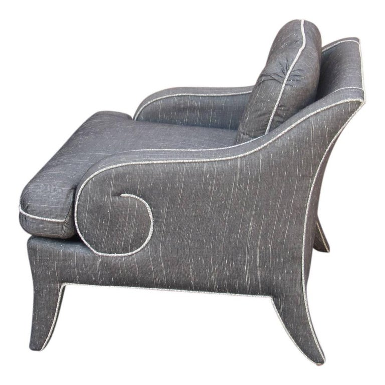 Pair of fully upholstered lounge chairs by Milo Baughman for Thayer Coggin . Exceptional pair of chairs, fully upholstered and welted to accent their arched backs and sweeping curved arms.