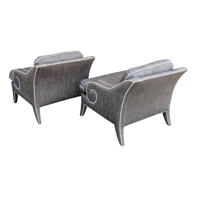 Upholstery Pair of Lounge Chairs by Milo Baughman for Thayer Coggin  For Sale