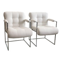 Pair of Milo Baughman Thin Line Chairs in Polished Chrome