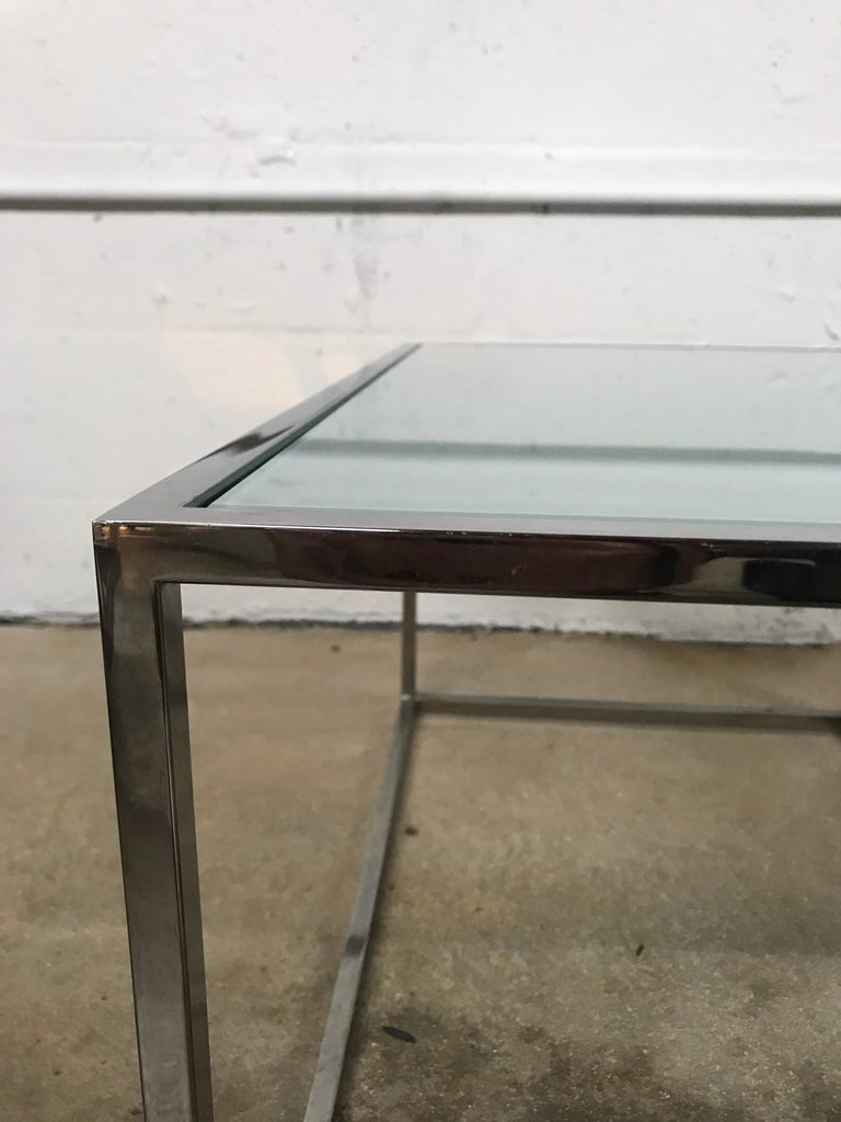 Pair of Milo Baughman Thin-Line Chrome and Glass Coffee, Cocktail, or End Table For Sale 4