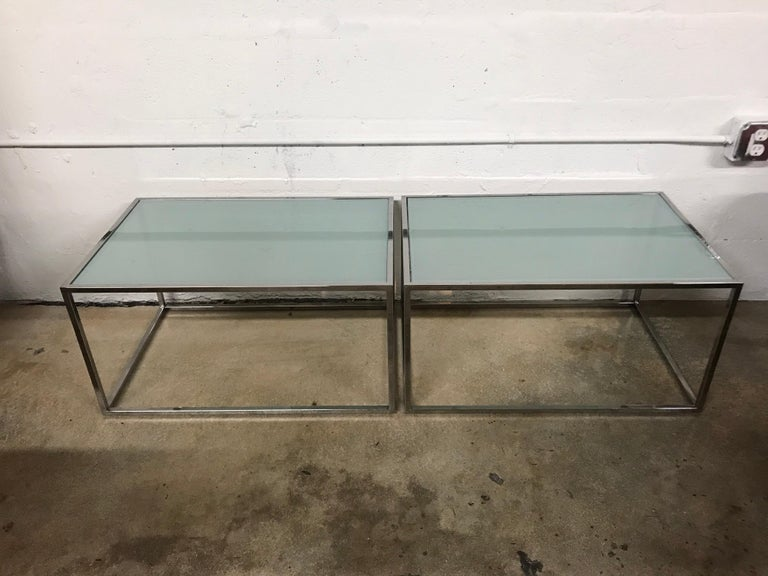 Mid-Century Modern Pair of Milo Baughman Thin-Line Chrome and Glass Coffee, Cocktail, or End Table For Sale