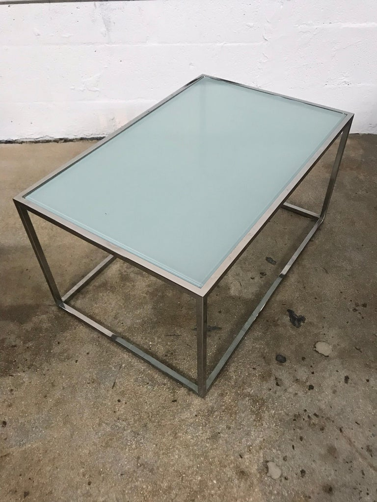 American Pair of Milo Baughman Thin-Line Chrome and Glass Coffee, Cocktail, or End Table For Sale