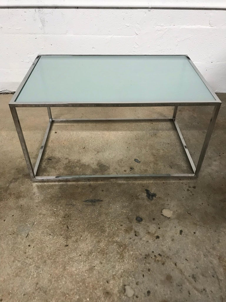 Pair of Milo Baughman Thin-Line Chrome and Glass Coffee, Cocktail, or End Table In Good Condition For Sale In Miami, FL