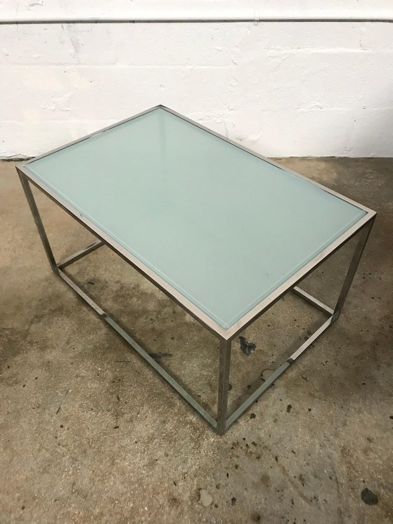 Steel Pair of Milo Baughman Thin-Line Chrome and Glass Coffee, Cocktail, or End Table For Sale