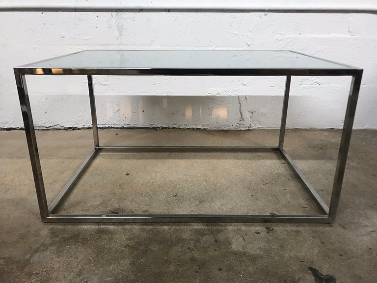 Pair of Milo Baughman Thin-Line Chrome and Glass Coffee, Cocktail, or End Table For Sale 1