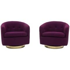 Pair of Milo Baughman Tilt Swivel Club Lounge Chairs, Brass base, Purple Fabric