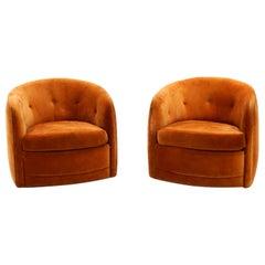 Pair of Milo Baughman Tilt Swivel Club / Lounge Chairs in Original Orange Velvet