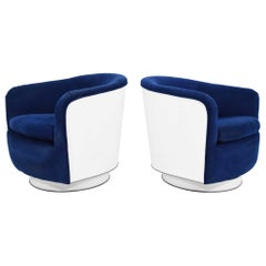 Pair of Milo Baughman Tilt/Swivel Lounge Chairs in Blue with White Lacquer
