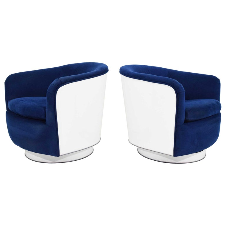 Pair of Milo Baughman Tilt/Swivel Lounge Chairs in Blue with White Lacquer For Sale