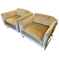 Pair of Milo Baughman Velvet and Chrome Midcentury Cantilever Club Chairs