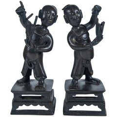Pair of Ming Dynasty Bronze Figures of Boys