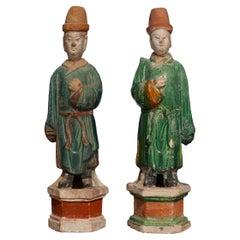 Pair of Ming Dynasty Terracotta Tomb Dignitaries