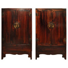 Pair of Ming Style Early 20th Century Wedding Cabinets