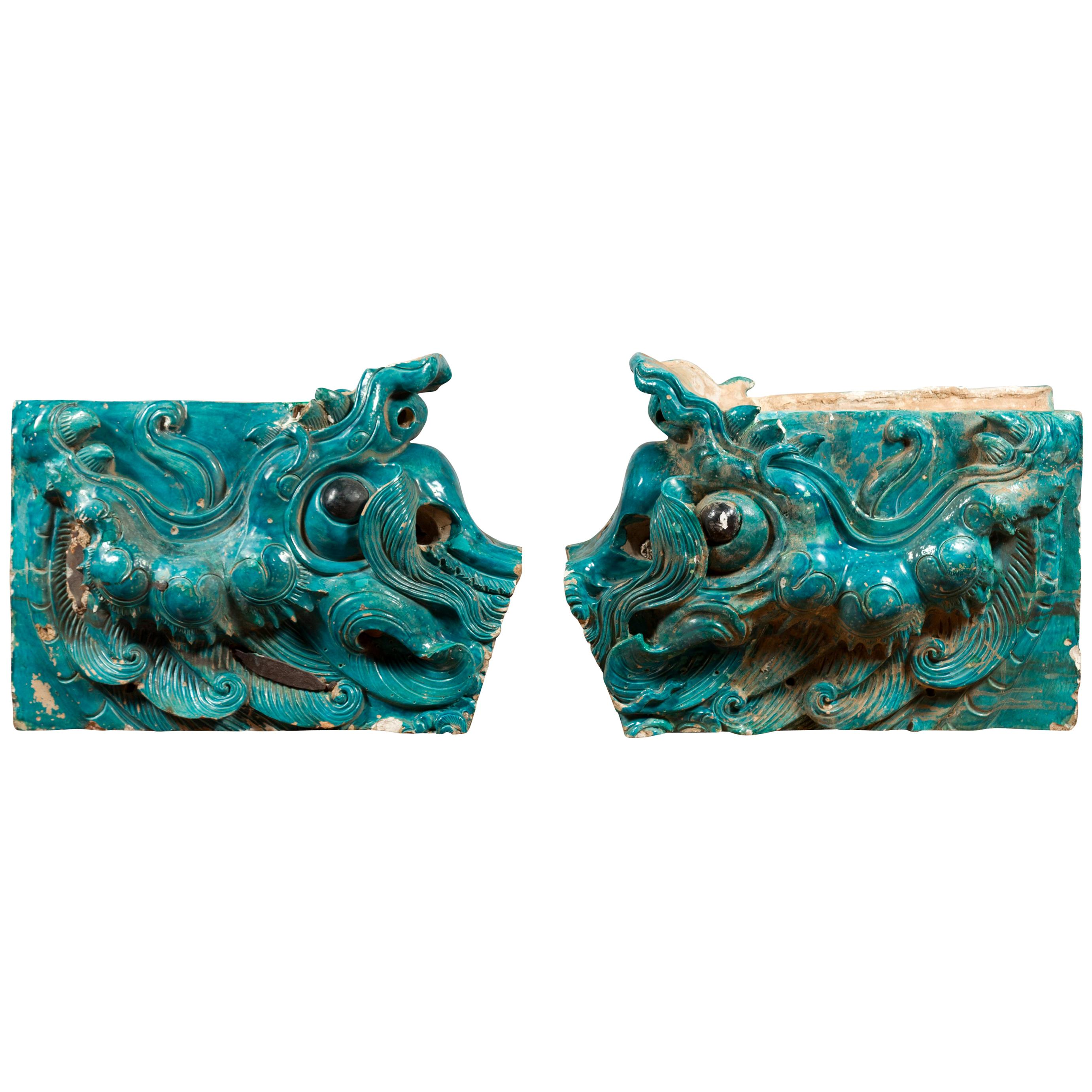 Pair of Ming Turquoise Glazed Temple Dragons from the 15th or 16th Century