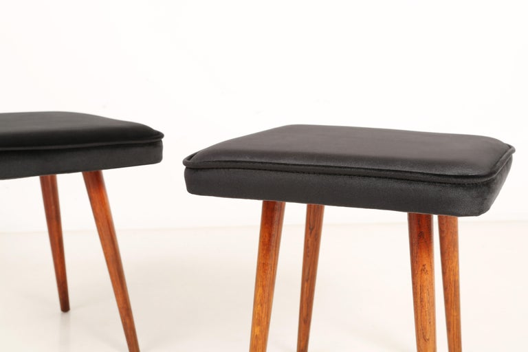 Hand-Crafted Pair of Mini Black Velvet Stools, 1960s For Sale