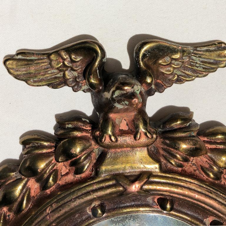 Pair Bull's-Eye Eagle Convex Brass Mirrors Federal 1700s Civil War Era 4