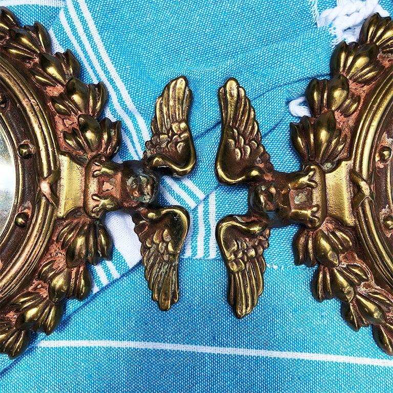 American Pair Bull's-Eye Eagle Convex Brass Mirrors Federal 1700s Civil War Era