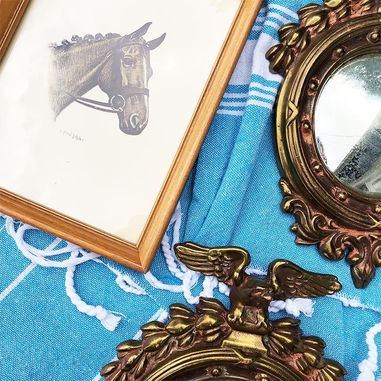 Pair Bull's-Eye Eagle Convex Brass Mirrors Federal 1700s Civil War Era In Good Condition In Oklahoma City, OK