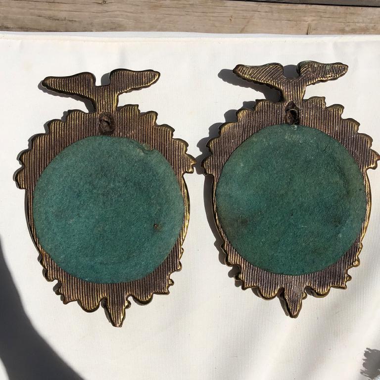 18th Century and Earlier Pair Bull's-Eye Eagle Convex Brass Mirrors Federal 1700s Civil War Era