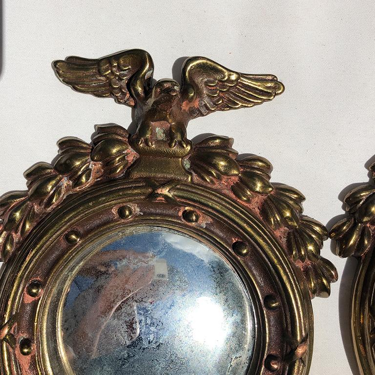 Pair Bull's-Eye Eagle Convex Brass Mirrors Federal 1700s Civil War Era 1