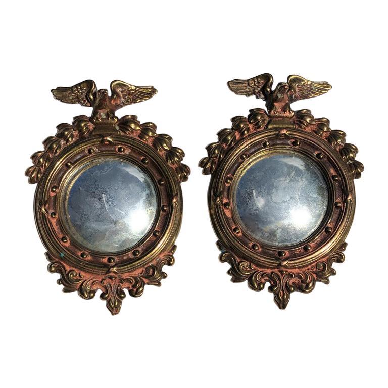 Pair Bull's-Eye Eagle Convex Brass Mirrors Federal 1700s Civil War Era